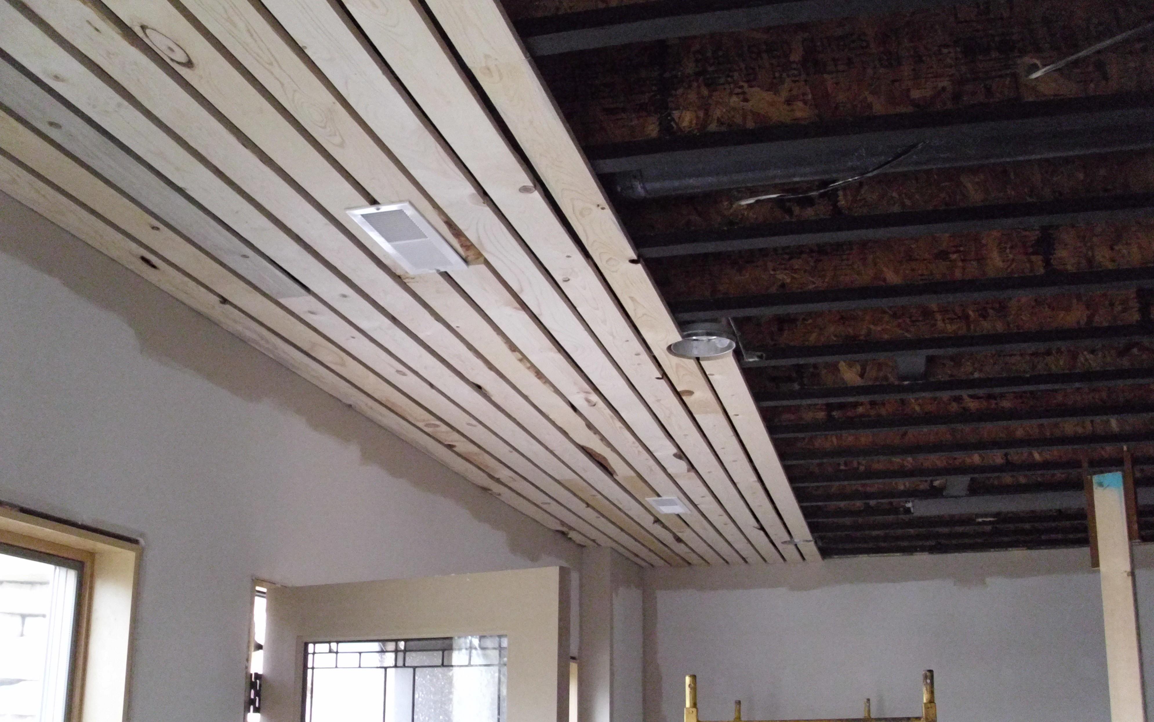 Getting started dallas bayles handyman craftsman - Wood slat ceiling system ...